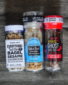 Trader Joe's Triple Threat Spice Combo: Smoked Ghost Chili Peppers, Garlic Salt, Everything But The Bagel Seasoning